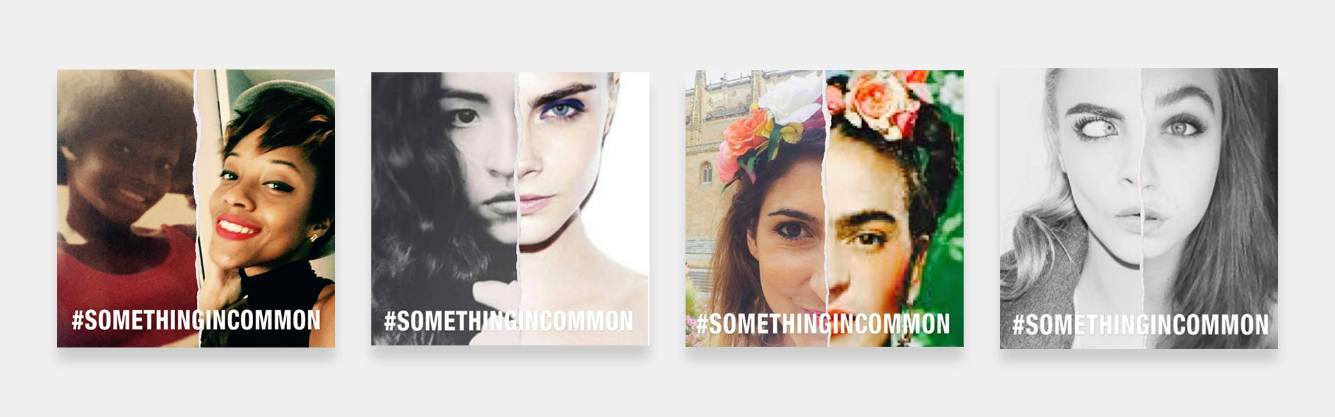 different shots of Mango's #Somethingincommon app