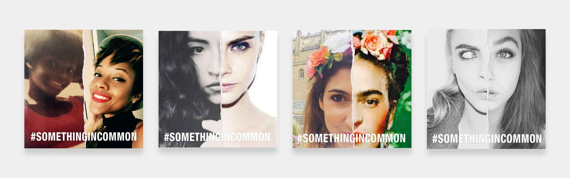 different shots of Mango's #Somethingincommon app
