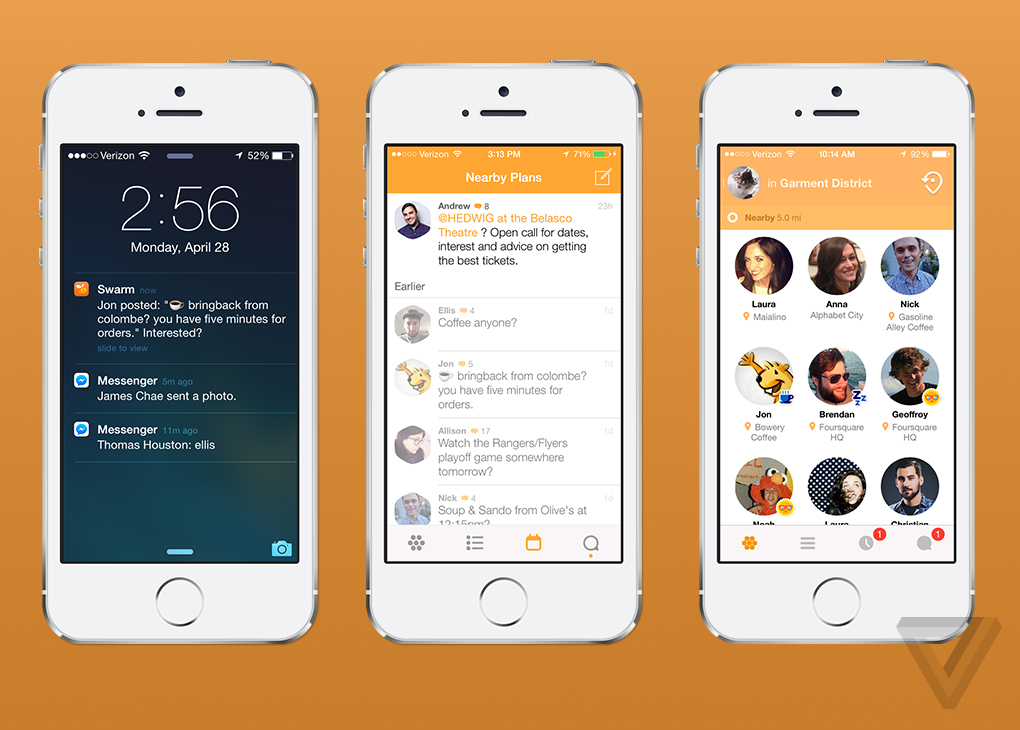 Swarm app screenshots